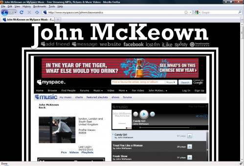 John McKeown Myspace Layout Top