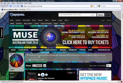 Muse Myspace Layout Upgrade