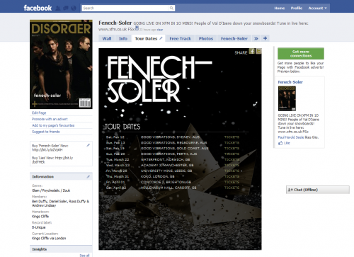 Fenech-Soler Tour Dates Facebook Tab