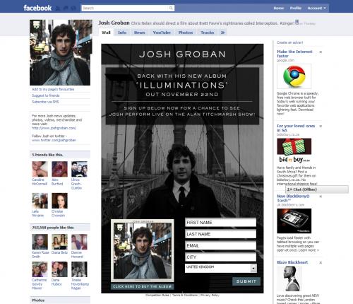Josh Groban Facebook Tab