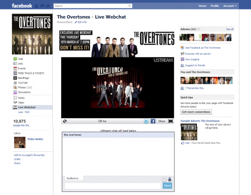 The Overtones - UStream Facebook Tab