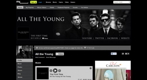 All The Young - Myspace Page