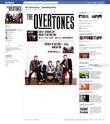The Overtones - Gambling Man Facebook Tab