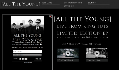 All The Young - Live From King Tuts - Holding-Page - Free Download Widget