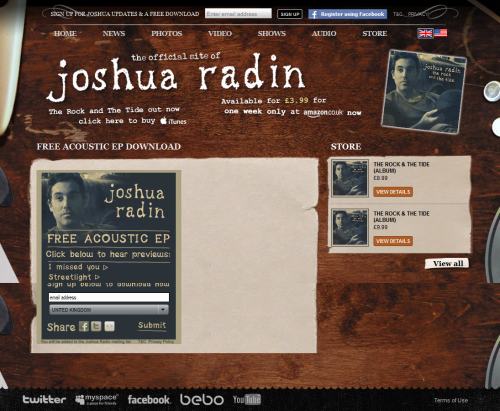 Joshua Radin Free Acoustic EP Widget