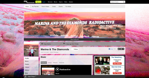 Marina and the Diamonds Myspace Layout
