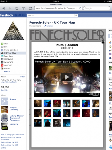 Fenech-Soler UK Tour Map Gig
