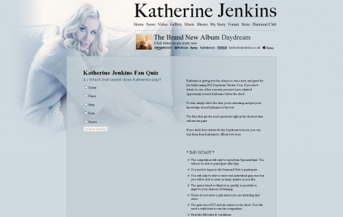 Katherine Jenkins Fan Quiz Question inactive
