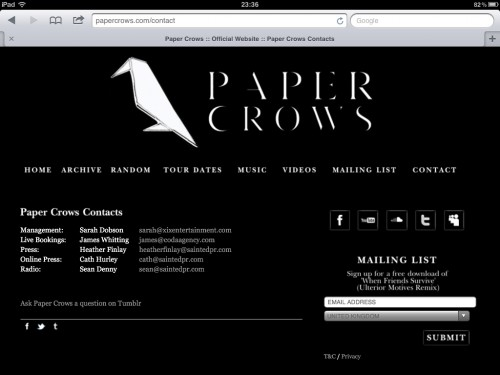 Paper Crows Website - Contact Page