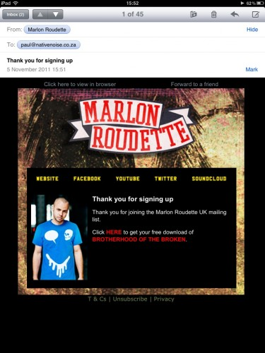 Marlon Roudette Email Template