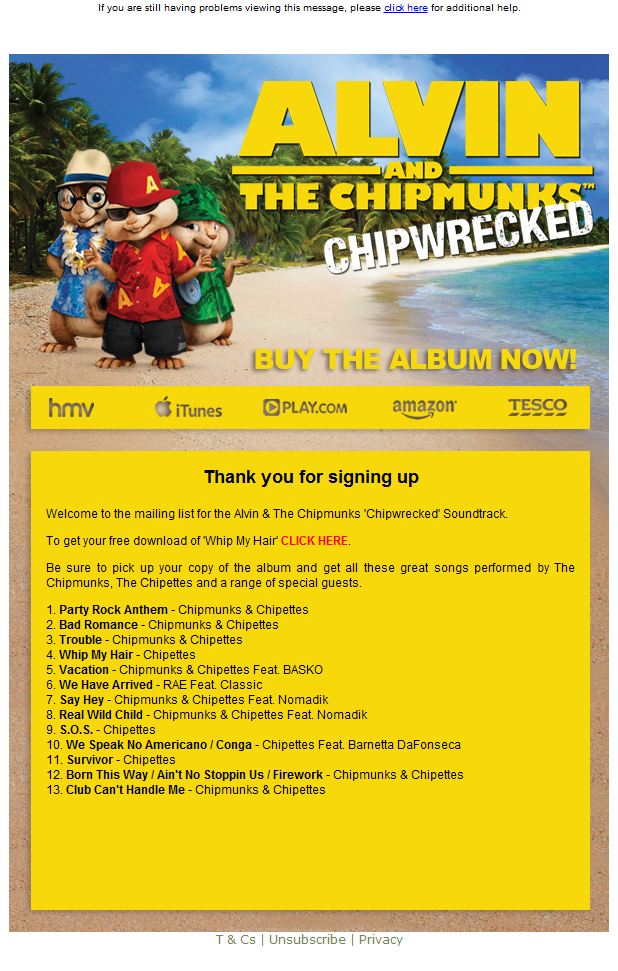 Alvin & The Chipmunks Free Download Microsite | Native Noise