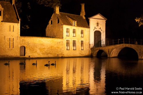 Night shot of the canal in front of the Benguinage, Bruges