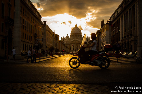 Sunset over Saint Peter's Basilica, Rome, Italy